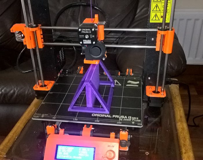My Prusa i3 Mk2, printing out the largest part of the project - the central chassis