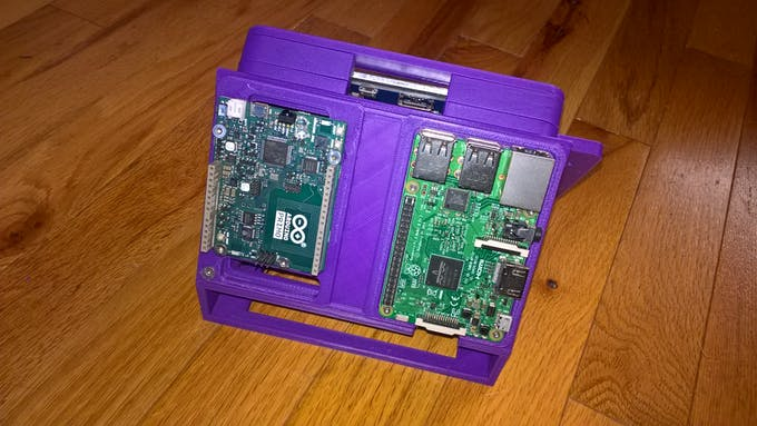 The assembled case and the Arduino (bolted together)