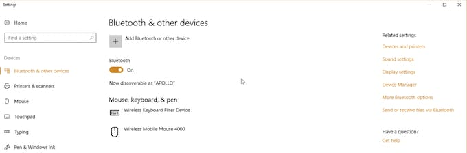 Bluetooth and other devices in Windows 10