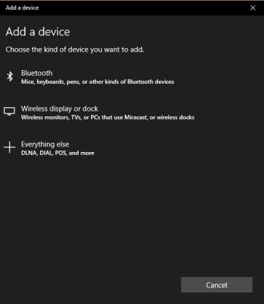 Add a device in Windows 10