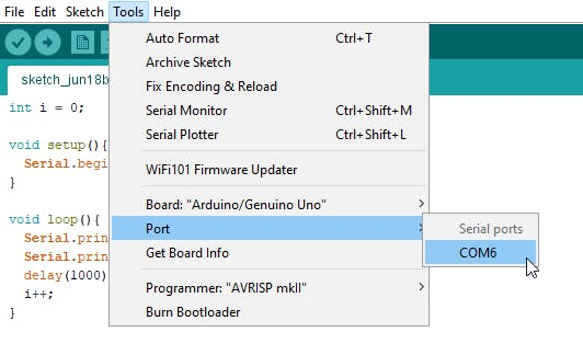 The bluetooth COM port displayed in the Arduino IDE