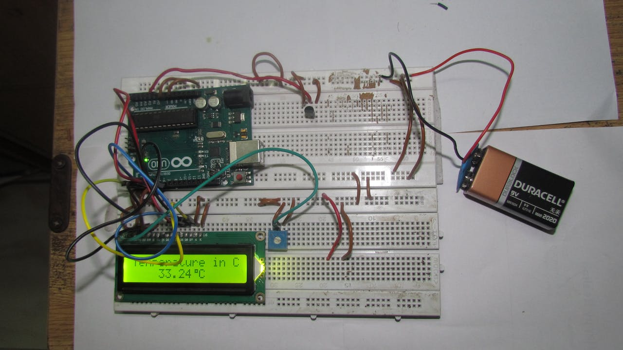 Arduino Based Digital Temperature Sensor Project Hub Wiring Diagram Wind Power Plant Schematic Temp Gauge