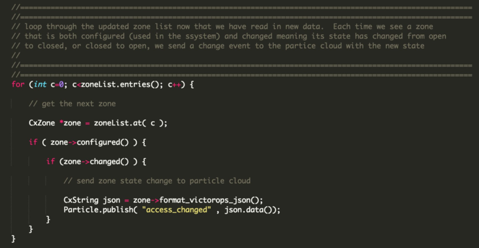 Code that sends Particle Message about Door or Window Open/Close Event