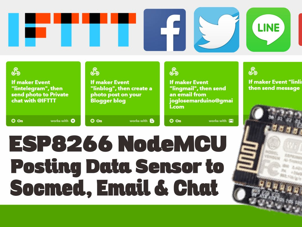 NodeMCU Post on Facebook, Twitter, LINE, Telegram & Email