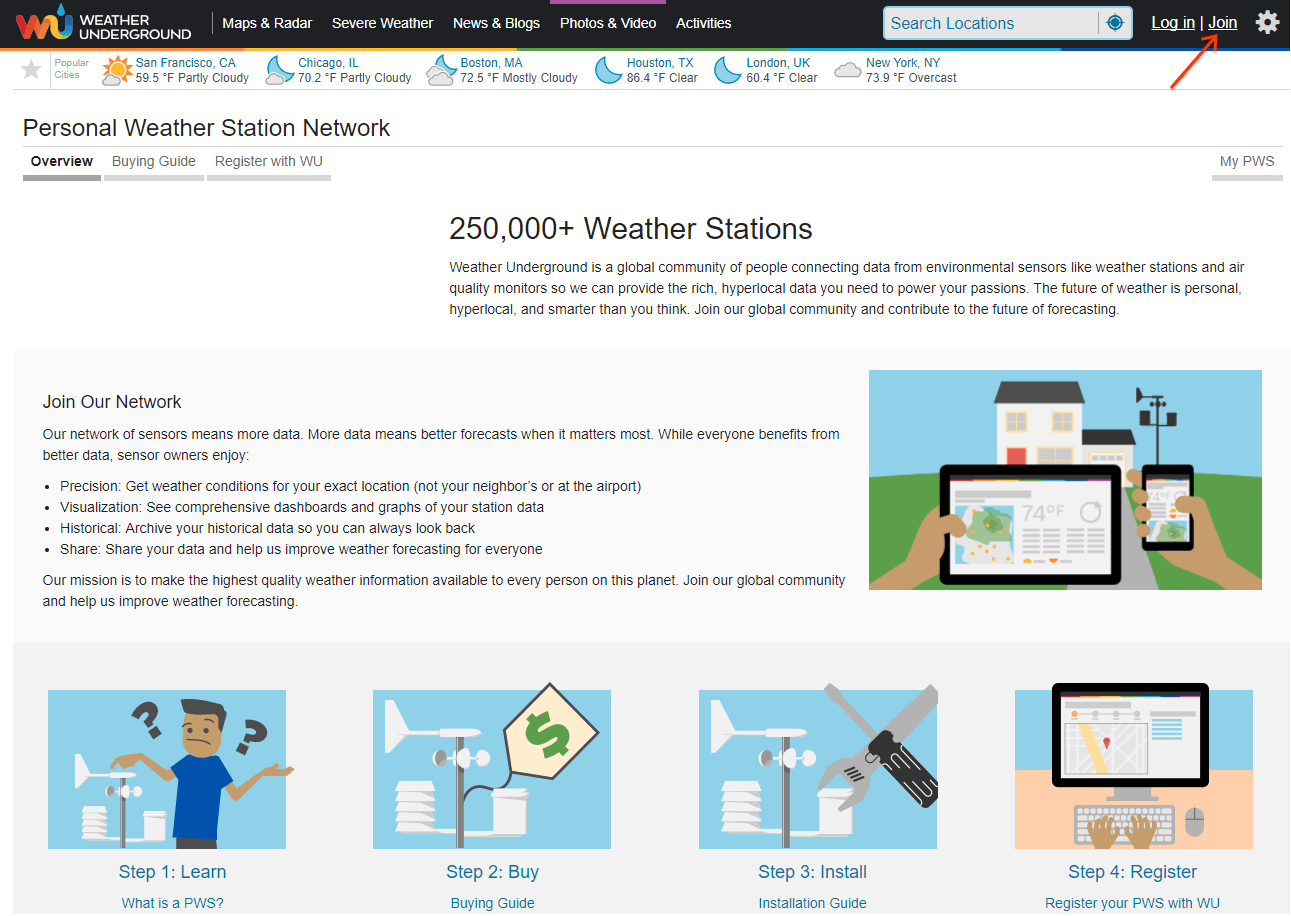 Log in to Weather Underground Personal Weather Station