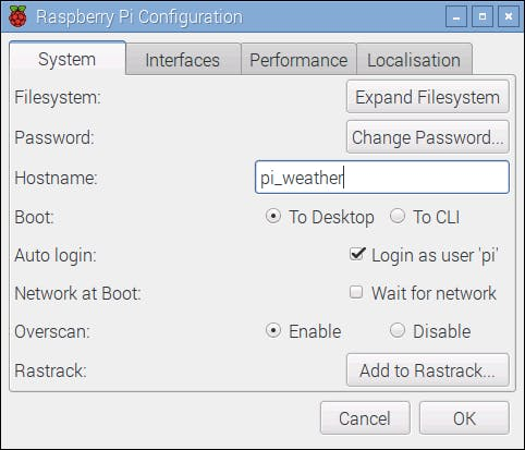 Raspberry Pi Configuration Window