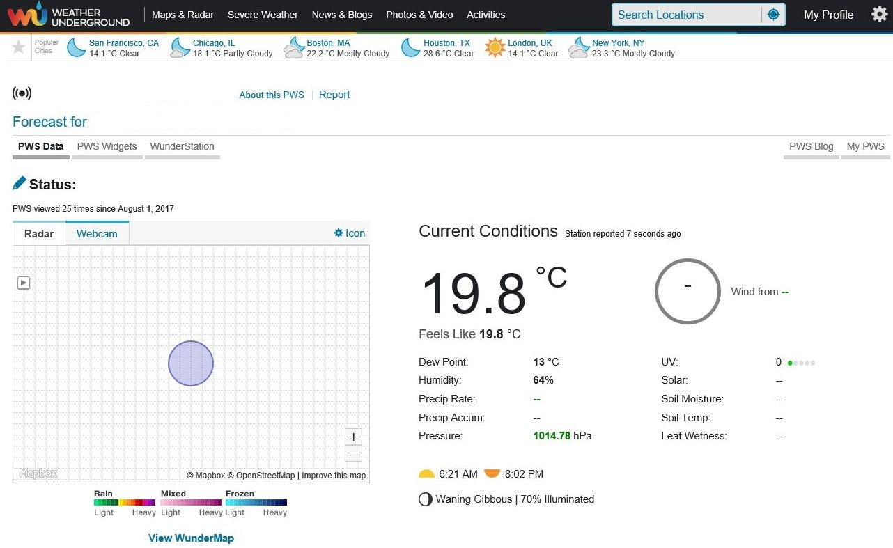 Personal Weather Station with provided sensors data (remove private data)