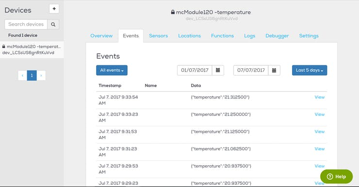 incoming temperature information