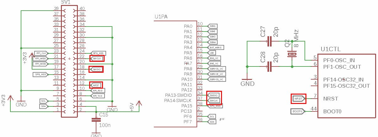 Connecting SWD pins of microcontroller and Raspberry Pi
