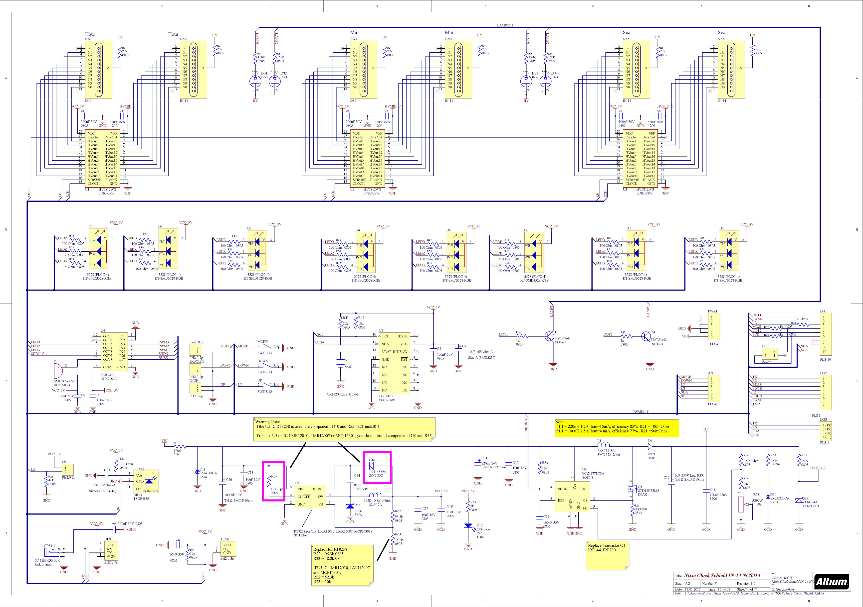 Arduino Shield Ncs314 Nixie Tubes Clock In 14 Schematic Of My 6 Digit Here Are Some Photos Schem V1 2 Tnakv7hw5x