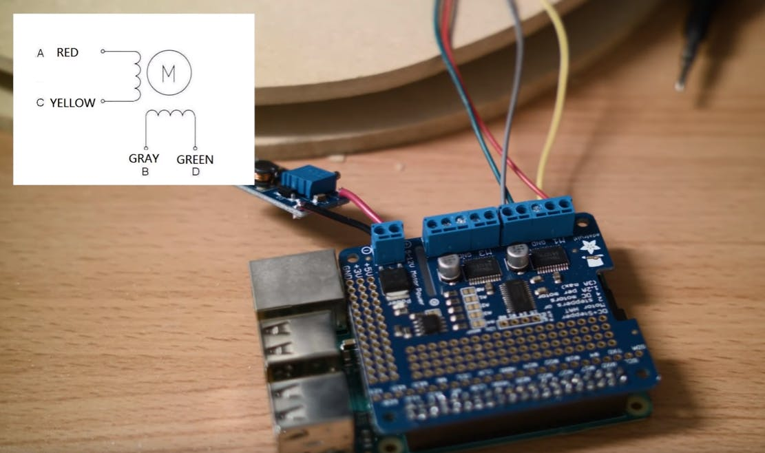 Wire the step-up converter and stepper motors to the motor hat (only one motor connection shown)