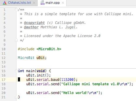 Calliope mini C++ coding template