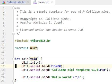 Calliope mini C++ coding template - Hackster io