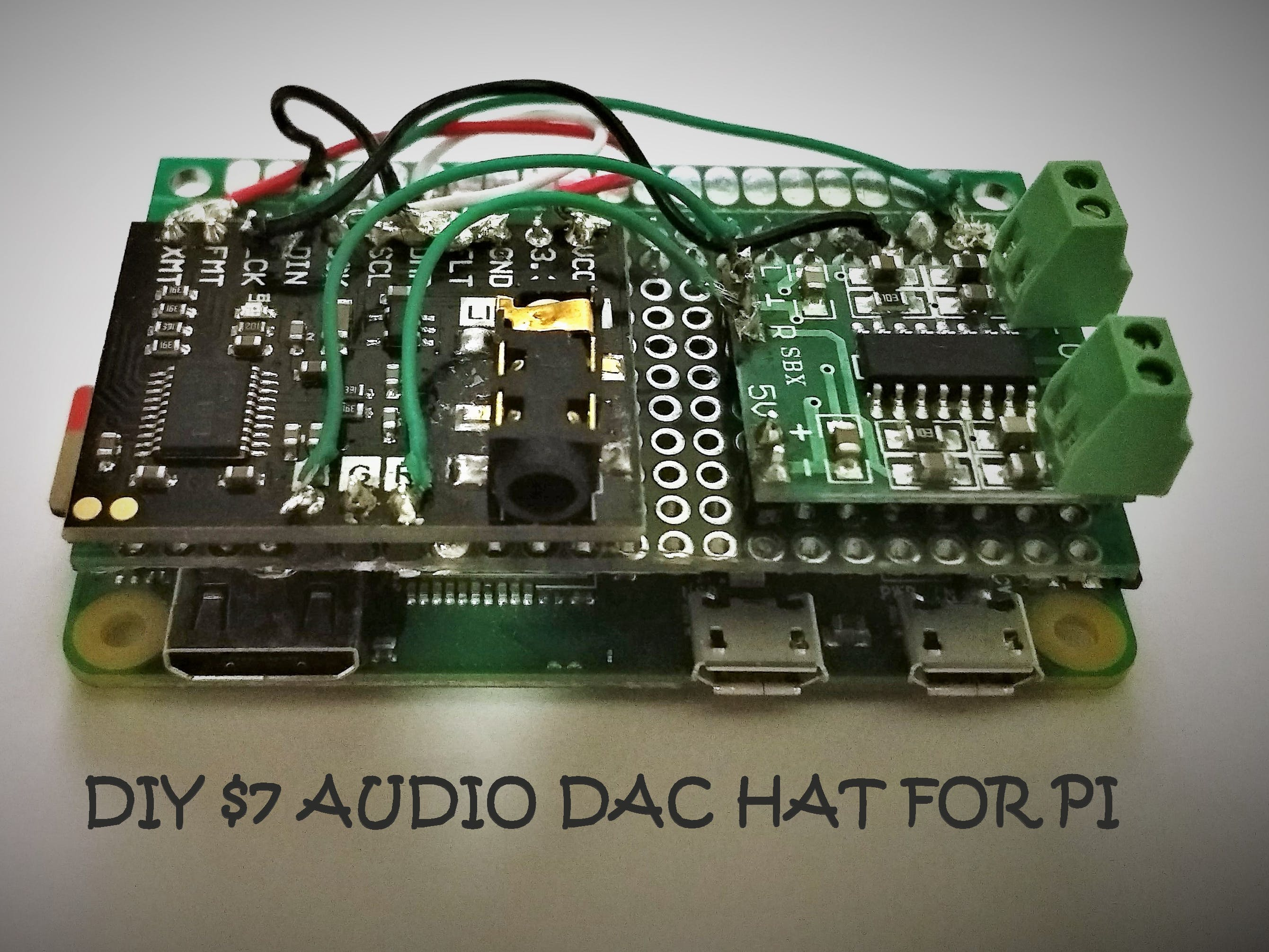 Audio DAC Hat for Pi with Headphone Jack and 3W Speaker Out