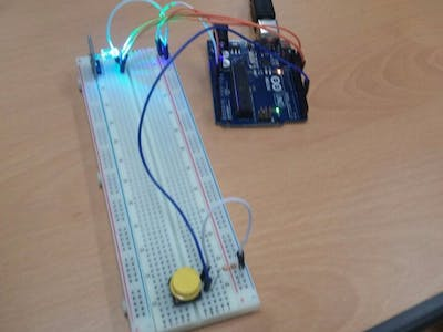 Pressing the Button Changes the Color of the RGB LED