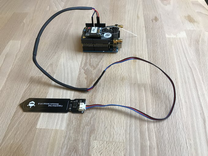 The complete soil moisture probe shown here with an Arduino UNO.