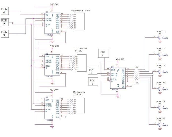 48 x 8 Scrolling LED Matrix using Arduino  - Hackster io