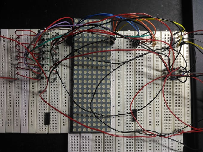 Breadboard prototype of 8x8 matrix