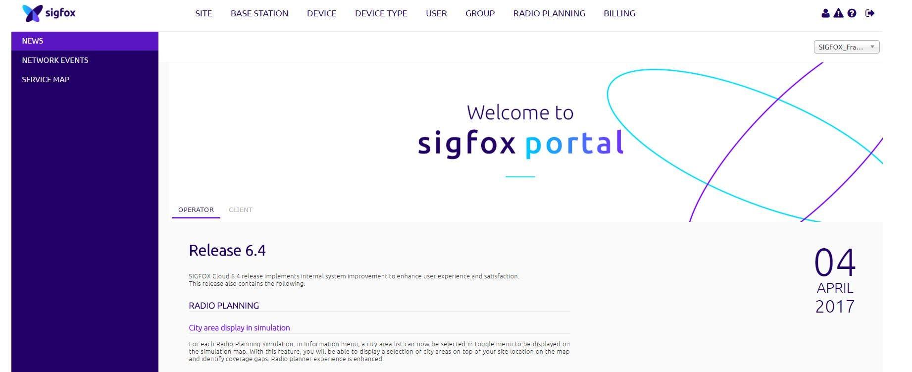 Main page SIGFOX Backend