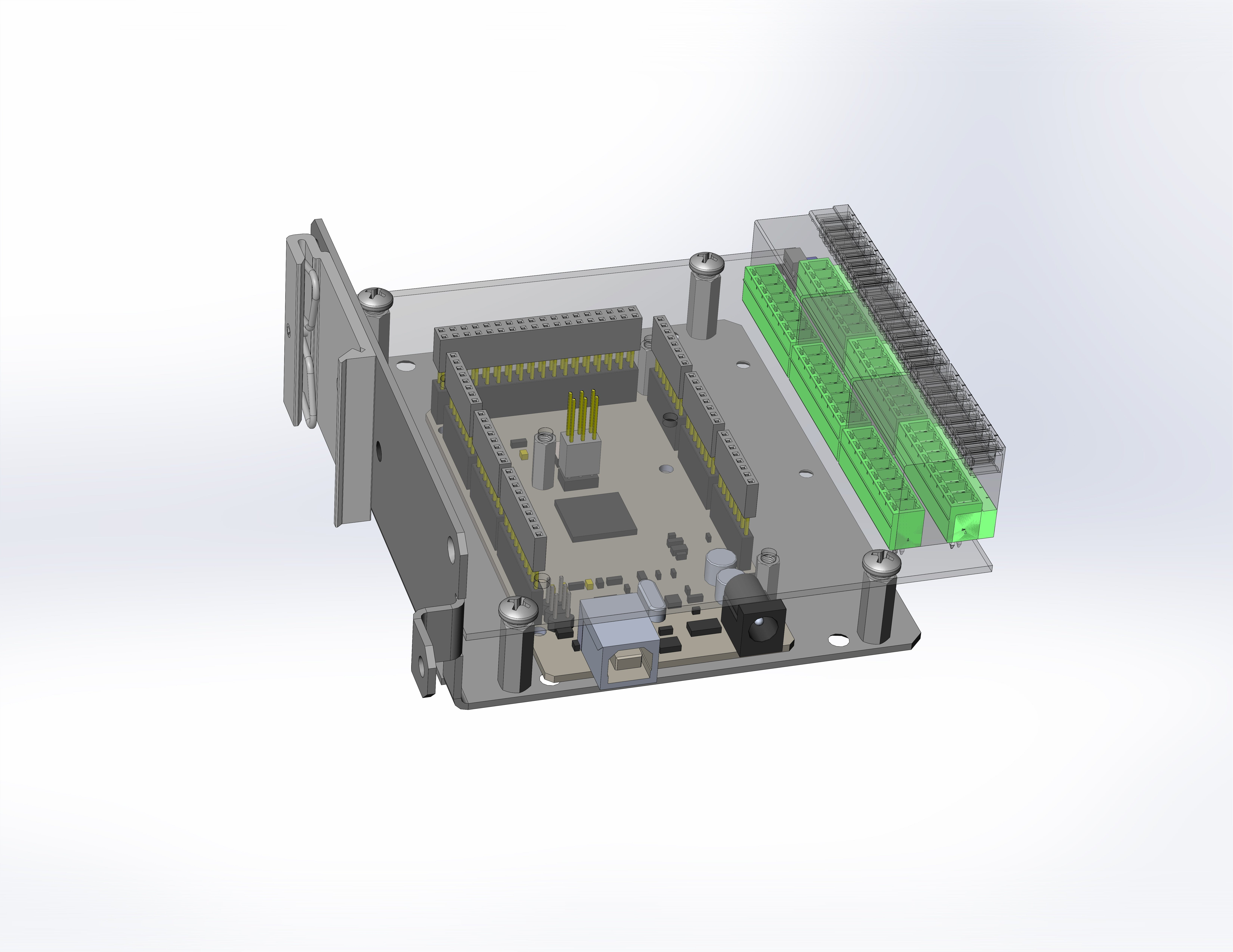 DIN-Uino packaging: Baseplate + DIN-Uino-Proto1 board (transparent) + MEGA2560