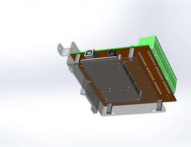 DIN-Uino packaging: Bottom view (baseplate is transparent).