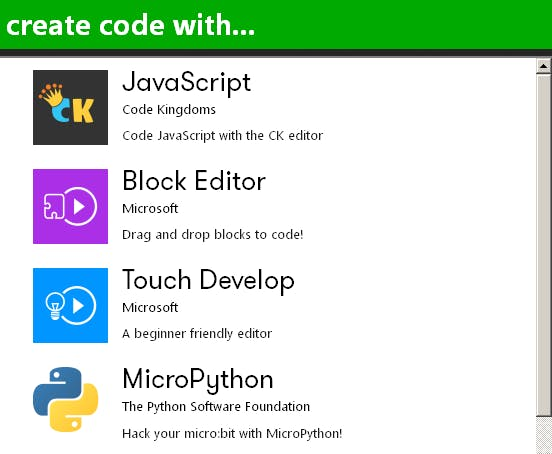 kiddo coding in block editors or JS of uPython