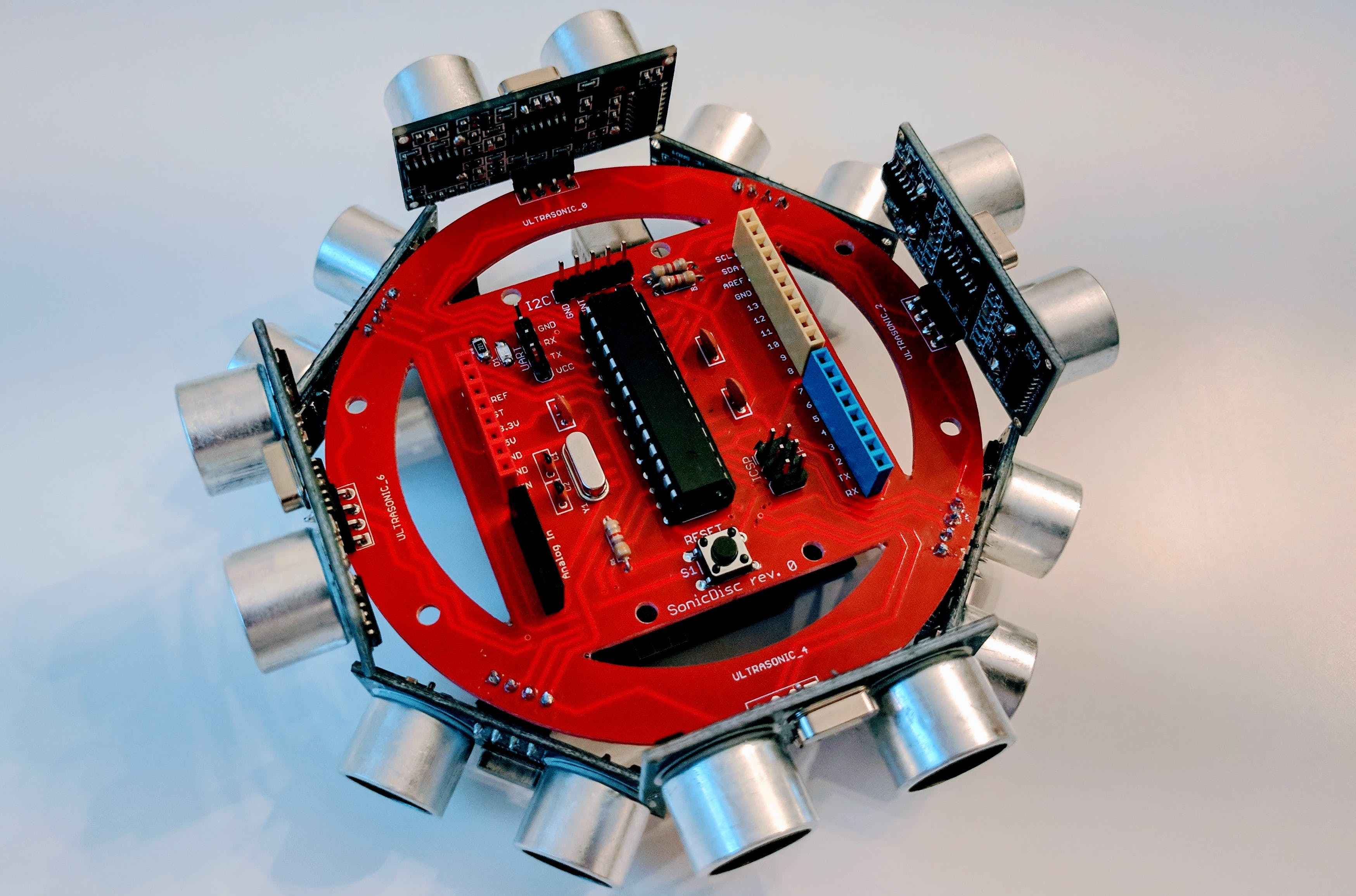 A SonicDisc mounted on an Arduino