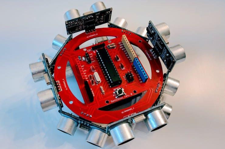 A SonicDisc mounted on an Arduino