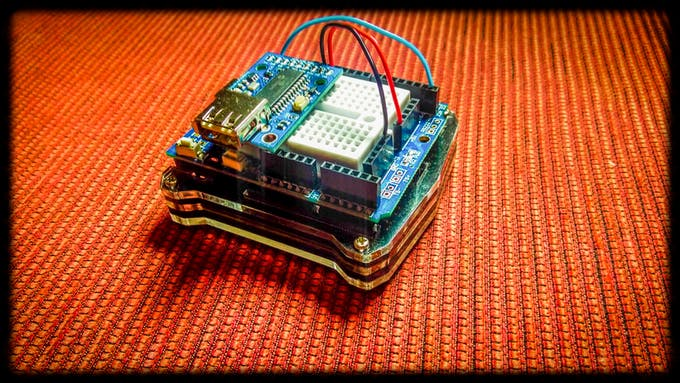 Arduino 101 with Hobbytronics USB MIDI Host (front)