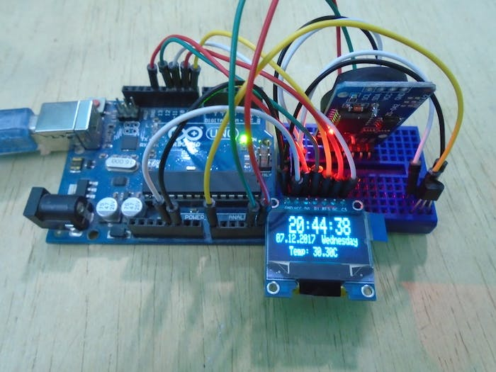 Arduino OLED Temperature Display with Real Time Clock - Arduino
