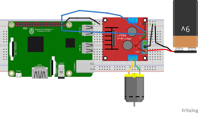 Control a dc motor with an l298 controller and raspberry for Dc motor raspberry pi