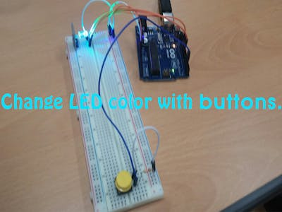 Button Changes the Color of the LED