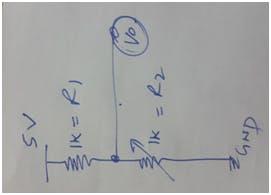 Variable resistance circuit (R2 is flex sensor)