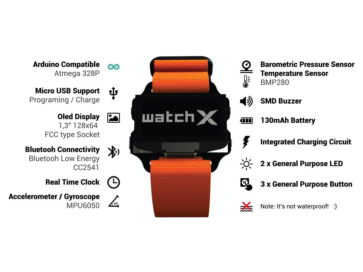 watchX-Arduino/Scratch Compatible Wearable Development Board