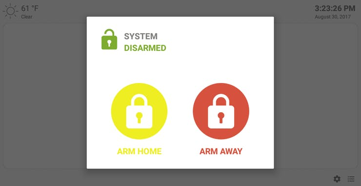 Select to Arm Home or Arm Away