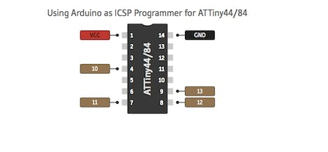 Arduino UNO to Attiny84 ISP Programming Connection