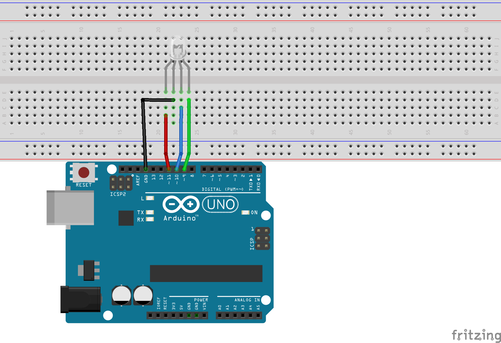Arduino Chameleon Using Tcs3200 The Sensor We Will Use In This Circuit Is A Color Rgb Led Connection