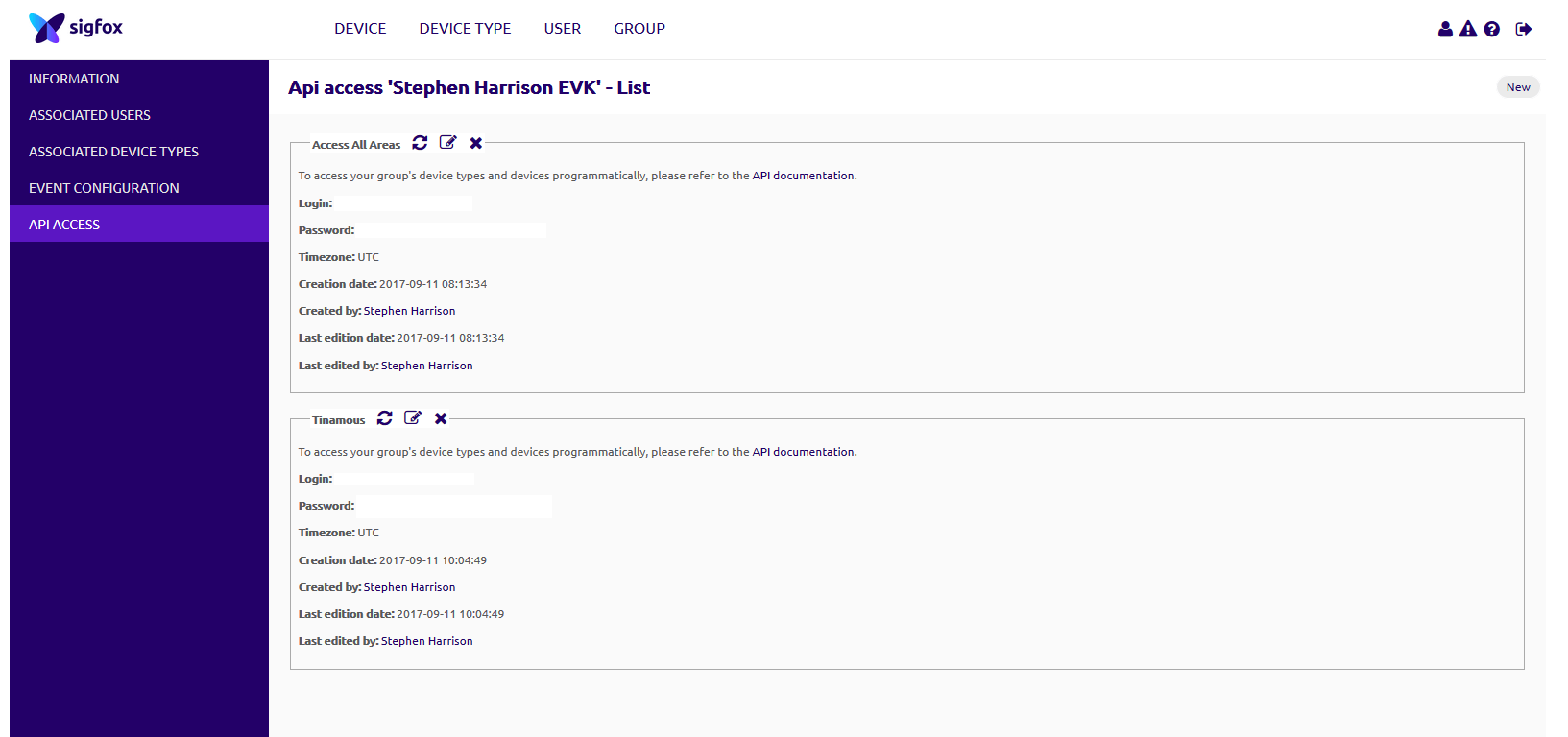 Sigfox API Access
