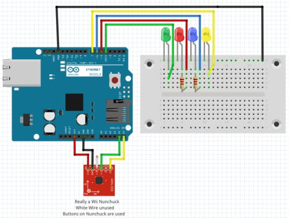 Wiring Diagram, buttons are in nunchuck