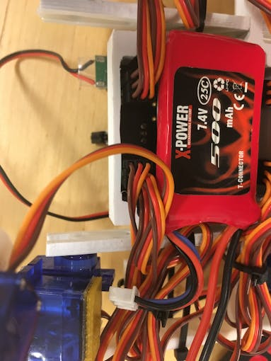 The 7.4 V LiPo battery attached to the underside with velcro
