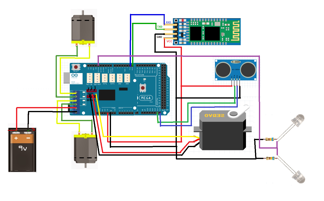 Bluetooth controlled obstacle avoiding arduino robot