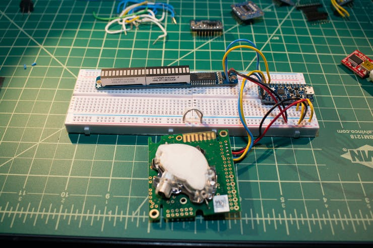 Building up the breadboard, adding the bar graph display
