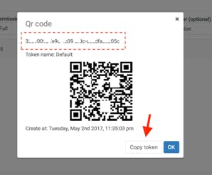 Copying the token to be used in the Gateway configuration