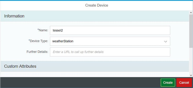 Create tessel2 device with device type weatherStation