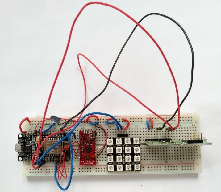 Components wired on breadboard