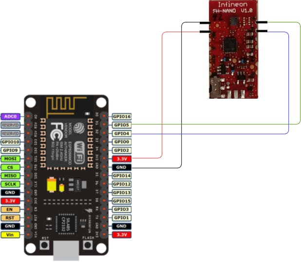 Shematic to interface DPS310 with NodeMCU