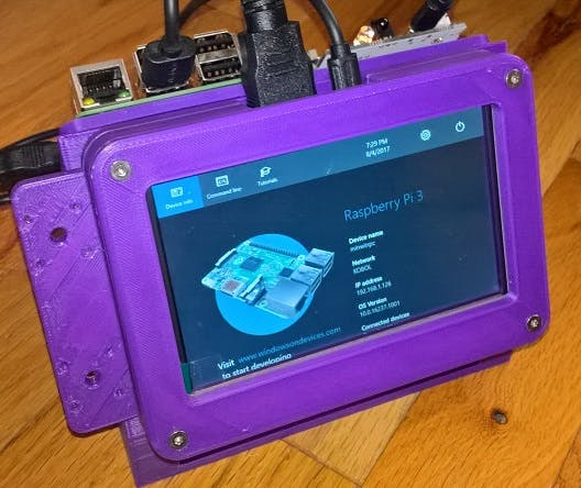 "Front view of 3d-printed rig with a 5"" screen, a Raspberry Pi and Arduino"