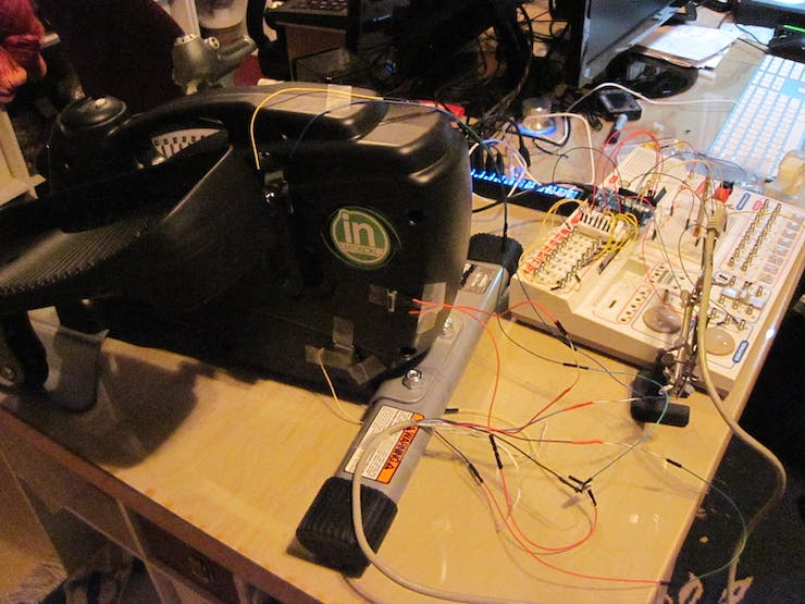 Portable Stepper machine on bench, reed switches taped on