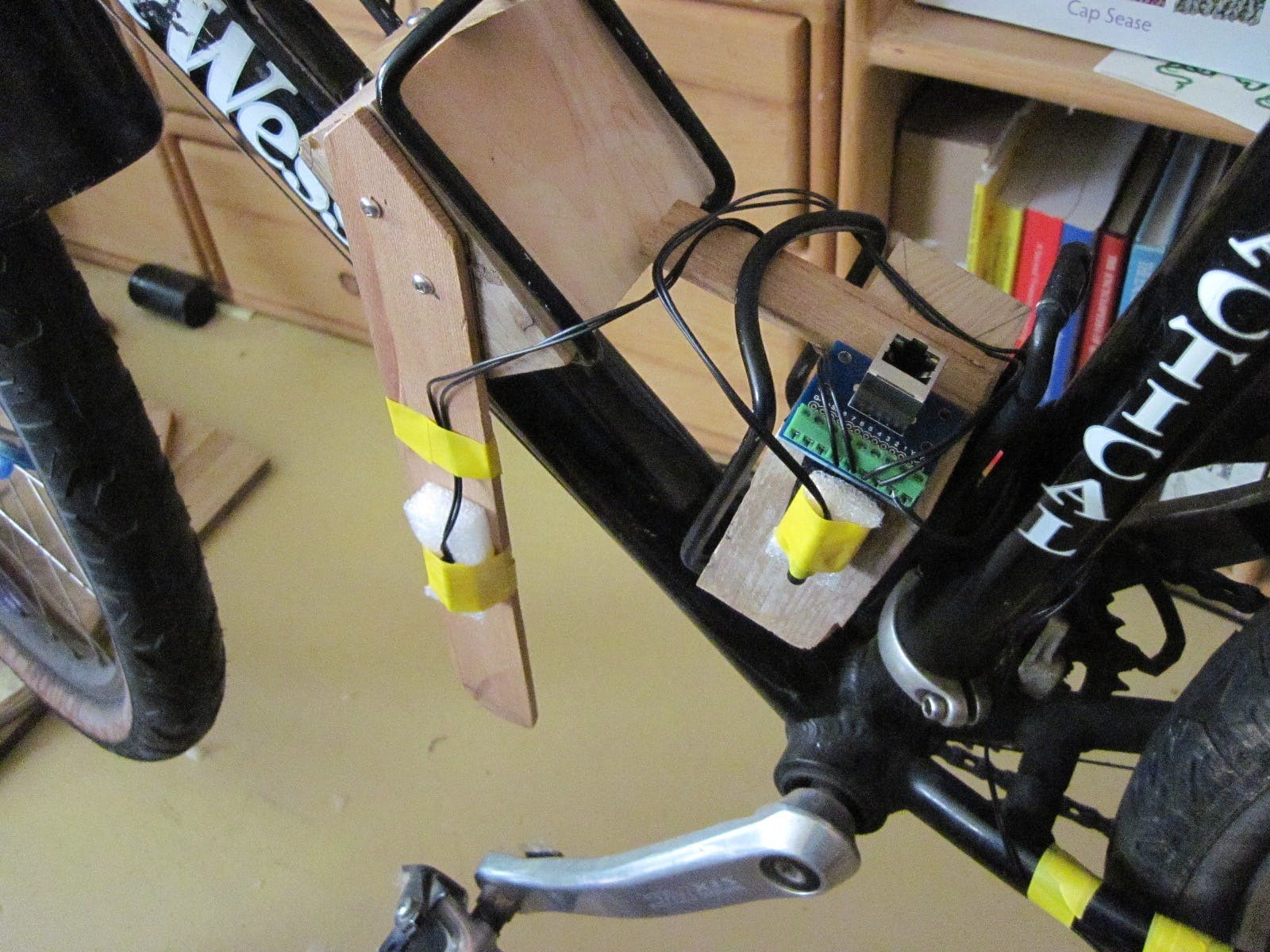 Pedal sensor array:  3 reed switches (yellow tape) capturing speed and direction