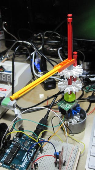 K'NEX test jig for Rotary Hall Encoder:  the diametrically polarised neo magnet is in the green cup